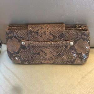 Alexis Hudson Brown snakeskin Leather clutch